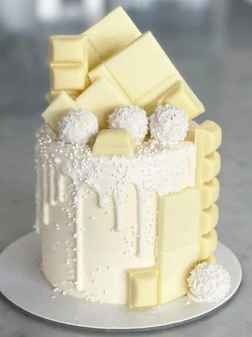 Snow White Vanilla White Chocolate Drip Cake 6'' 6-14portions