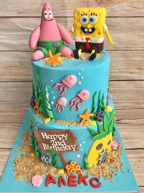 Sponge Bob Celebration Cake- 2 tier