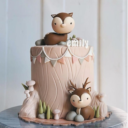 Woodland Forest Animals Tall Cake 6''8-14ppl