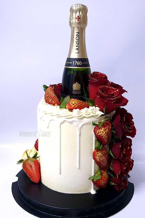 Champagne/Prosecco Flowers Cake 6'' 8-14portions