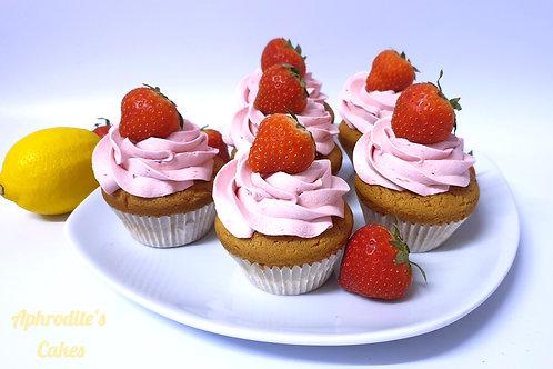 6 Strawberry Lemon Curd Lemonade Cupcakes