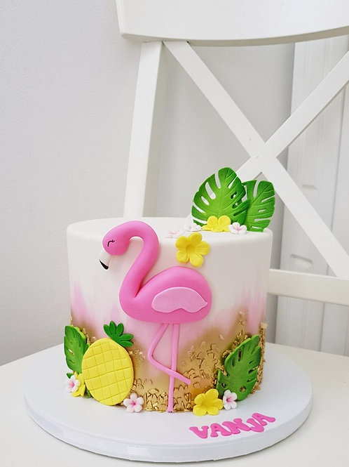 Pink Flamingo Pineapple Fondant Cake 6'' 6-14portions