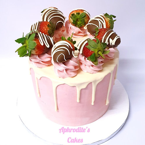 Dipped Strawberries Chocolate/Vanilla Pink Cake 6'' 6-14portions