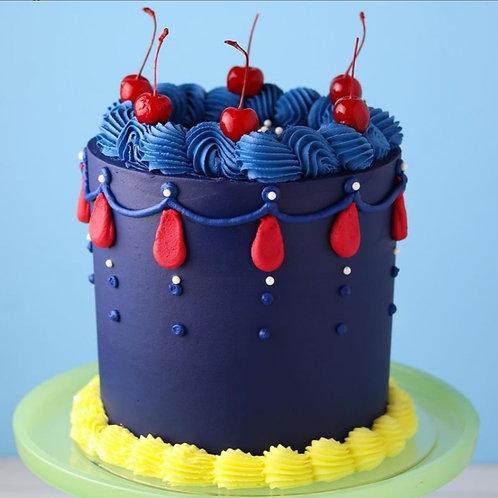 Navy Blue Snow White Celebration Cake 6''6-14portions
