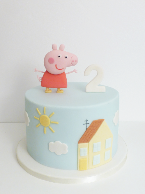 Peppa Pig Fondant Sugarpaste Cake 6'' 6-10 ppl