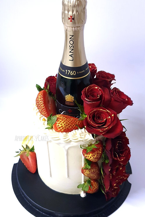 Champagne/Prosecco Flowers Roses Cake 6'' 8-14portions