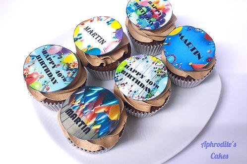 6 Vanilla/Chocolate Photo/Logo/Message/Names Cupcakes