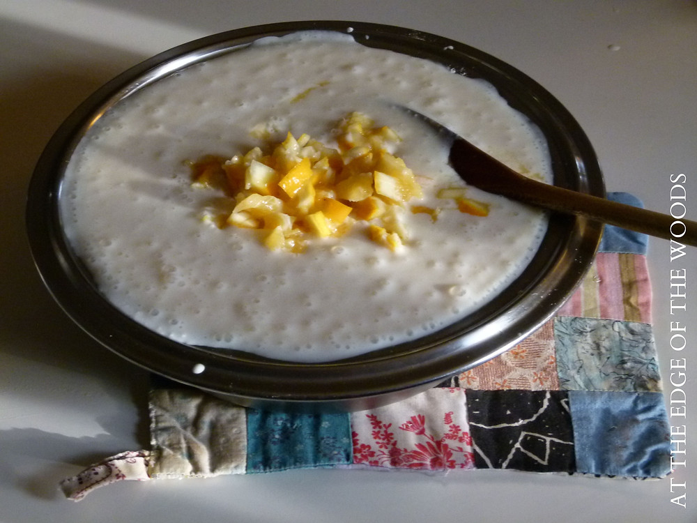 Meyer lemon frozen yogurt before freezing