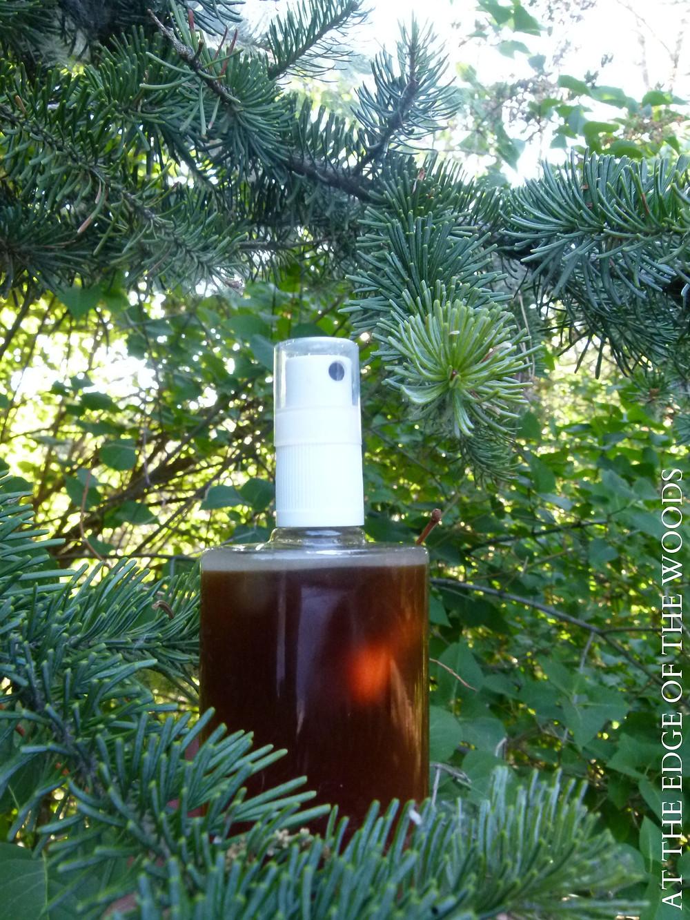vanilla glen body spray and a fir tree