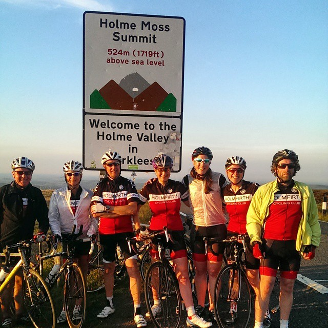 Our 'Speedy Ladies' group (+guests!) enjoys the evening sun and a traffic free ride over Snake Pass
