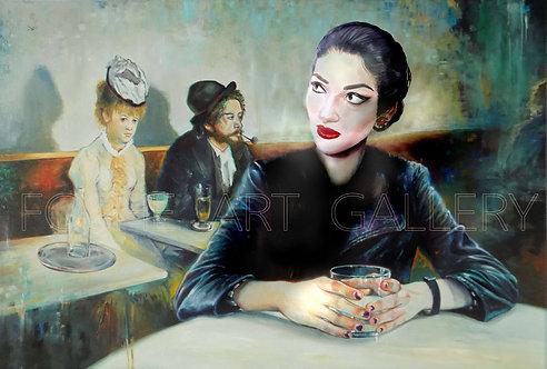 Maria Callas in a Café