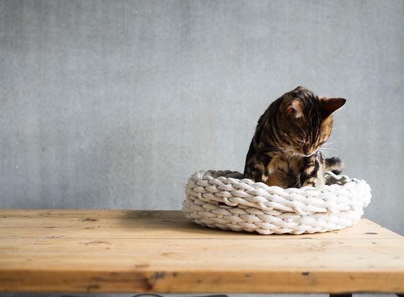 Handgemachtes Körbchen Nest mit Bengalkatze