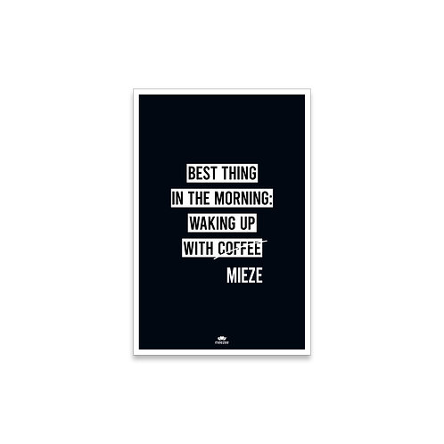 Poster für Katzenbesitzer mit dem Text Best Thing in the morning is waking up with cats, schwarz