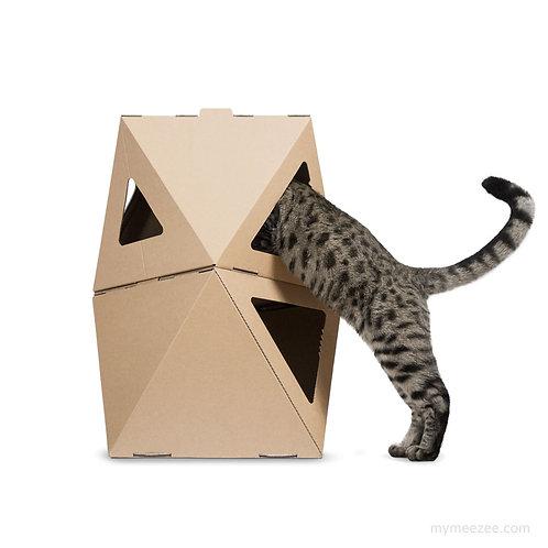 Zwei braune, dreieckige Katzen-Kartons gestapelt, Katze steht auf den Hinterbeinen und schaut rein