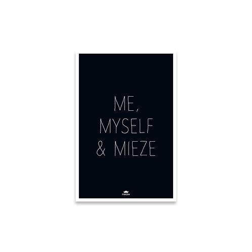 Poster für Katzenbesitzer mit dem Text Me, Myself & Mieze, schwarz