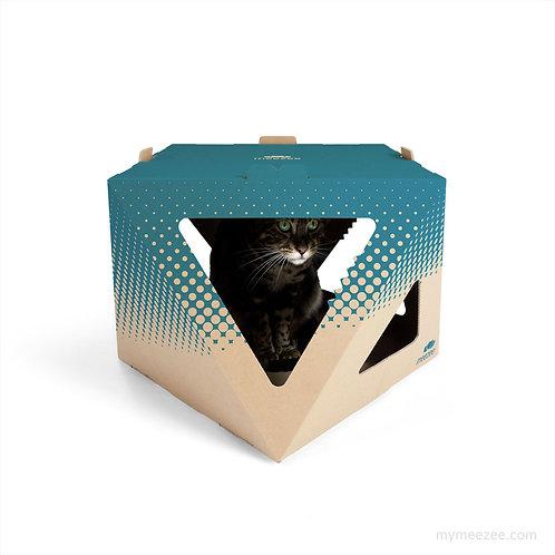 NOOK Karton für Katzen in braun mit Druck in petrol, Seitenansicht, Katze sitzt drin