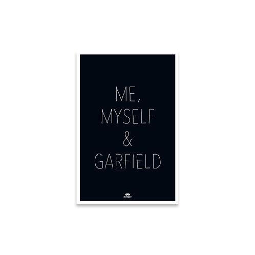 Personalisierbares Poster für Katzenbesitzer mit dem Text Me, myself & ... in schwarz