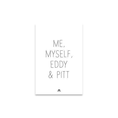 Personalisierbares Poster für Katzenbesitzer mit dem Text Me, myself & ... in weiß