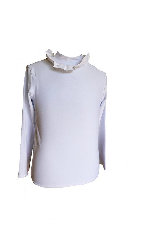 White Sweater with Ruffle Collar