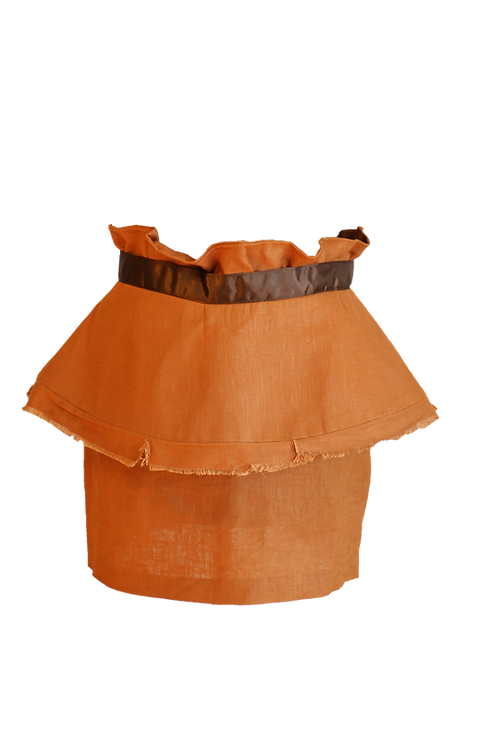 Brown Linen High Waist Double Skirt with Satin Belt