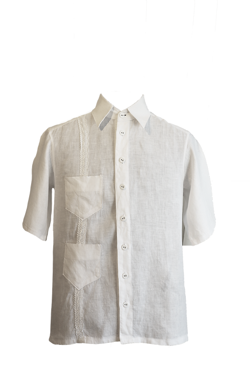 Modern Cuban Guayabera Crafted in White Linen