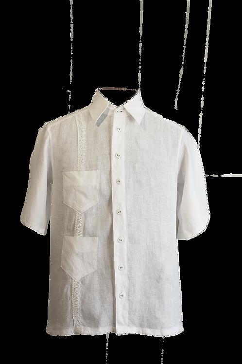 Modern Cuban Guayabera Crafted in White Linen