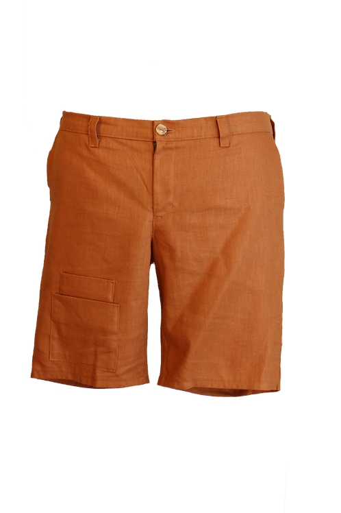 Brown Linen Short with Double Pockets