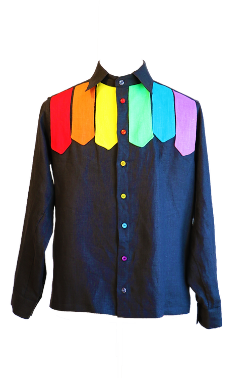 Rainbow Slips Black Linen Shirt