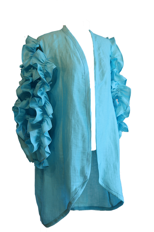 Light Blue Linen Kaftan with Ruffles