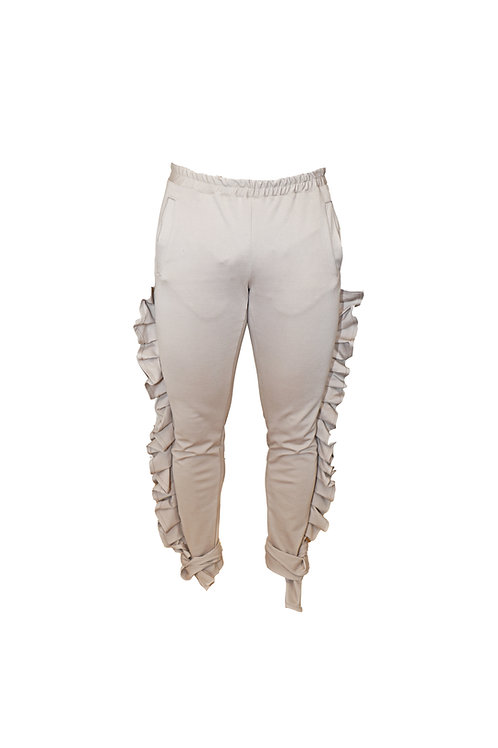 Sports Pants with Side Ruffles
