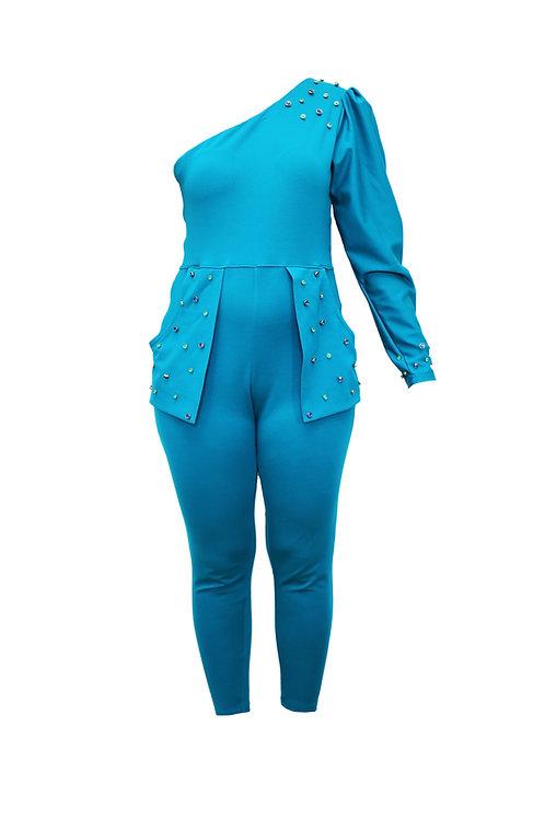 One Shoulder Turquoise Jumpsuit