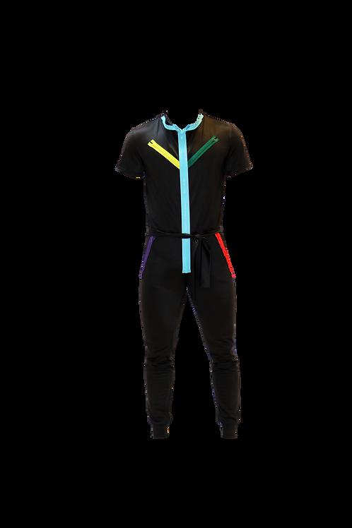 Black Color Jumpsuit with Zippers