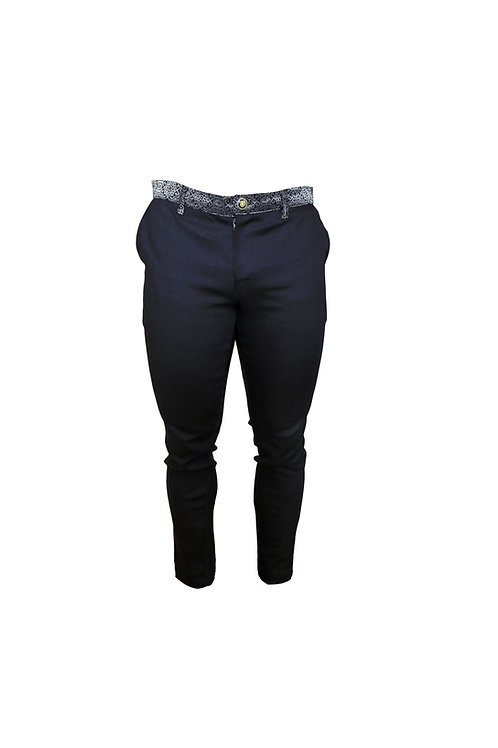 Slim Fit Pants with Silver Print Belt