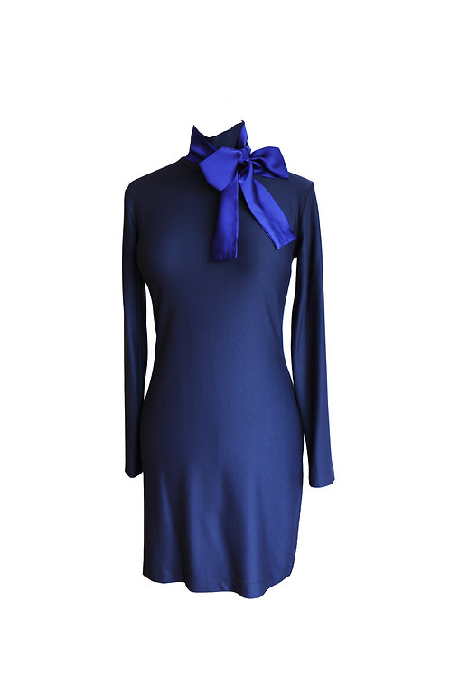 Blue High Neck Bow Dress