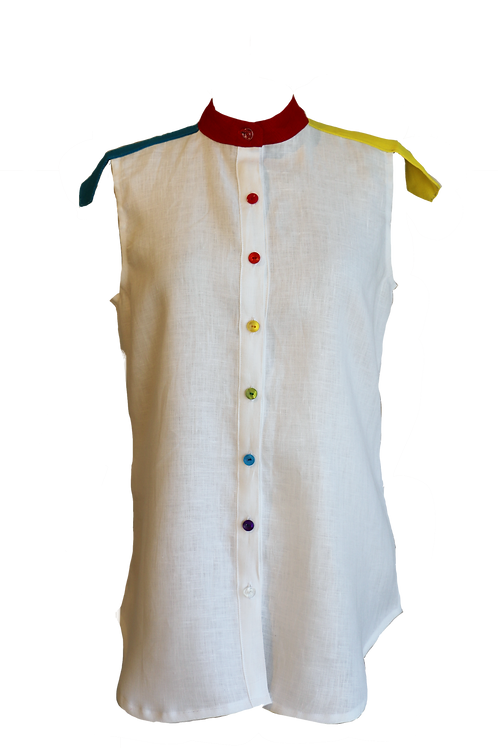 Sleeveless White Linen Shirt with 3 Colours Slips