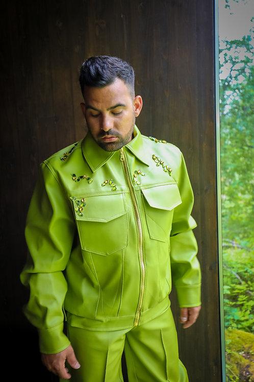 Faux Leather Embellished Jacket