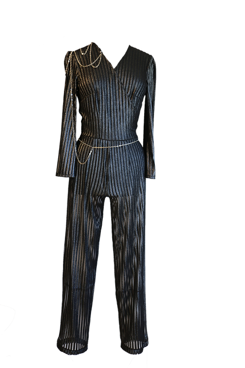 Black and Silver See-Through Jumpsuit with Chains