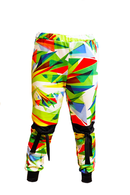 Triangle Print Sports Pant with Side Pockets