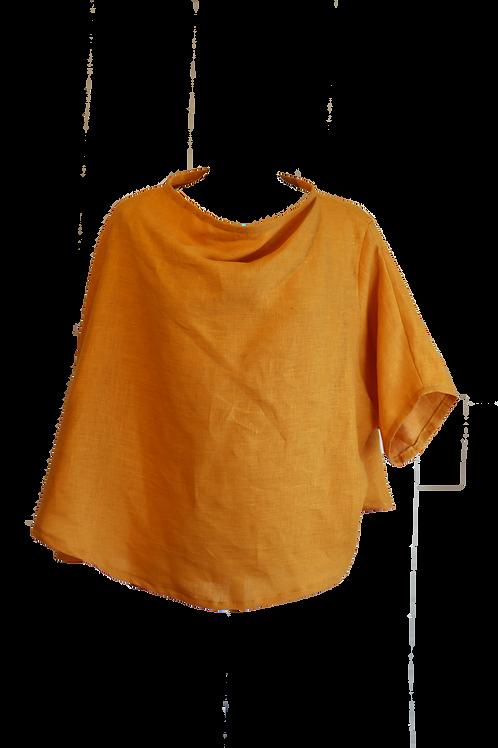 Yellow Linen Poncho Blouse
