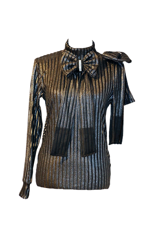 Black & Silver Double Bow Top