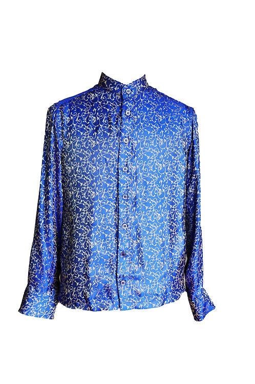 Royal Blue Silk Shirt