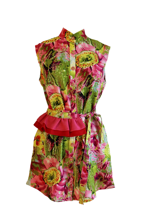 Sleeveless Floral Linen Dress with Double Ruffle on Belt