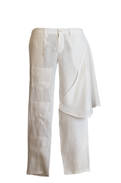 White Linen Pant Inspired by the Cuban Traditional Guayabera