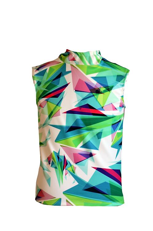 Sleeveless Hoddie with Triangle Print