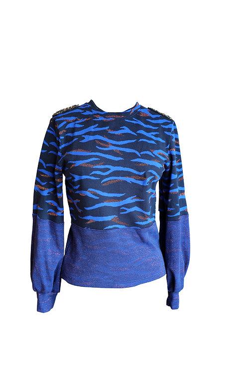 Crystal Embellished Royal Blue Sweater