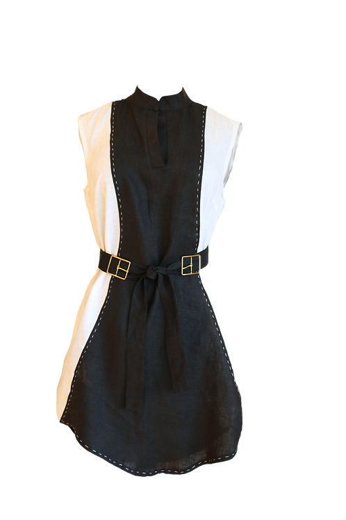 Black and White Linen Dress with Gold Buckles Belt