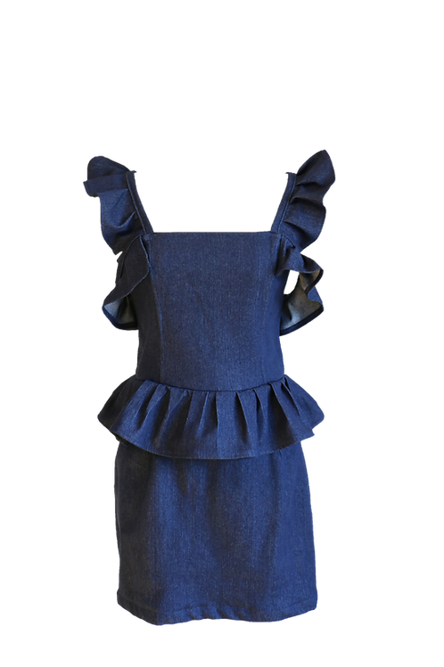 Triple Ruffled Denim Dress