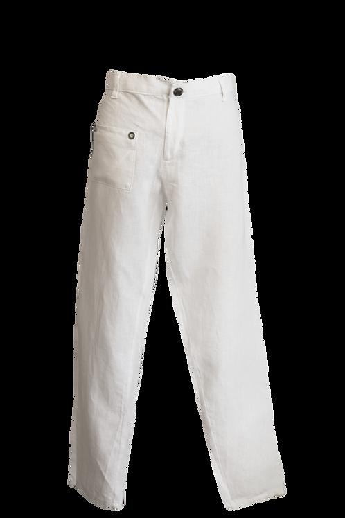 Double Pocket White Linen Pant