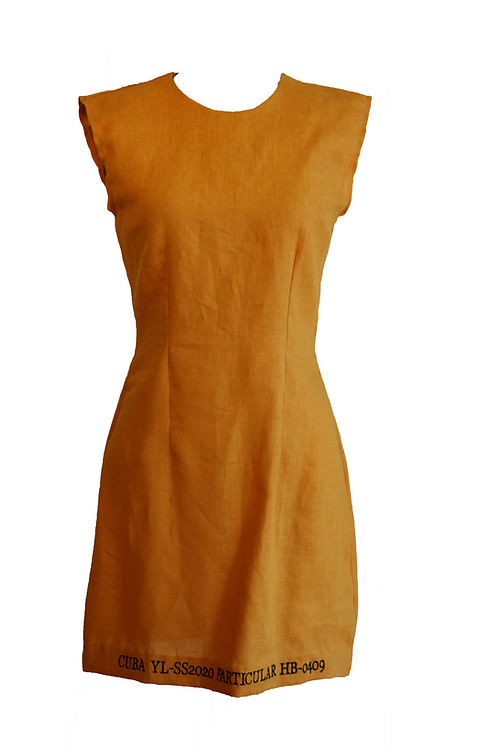 Yellow Linen Dress with Embroidery