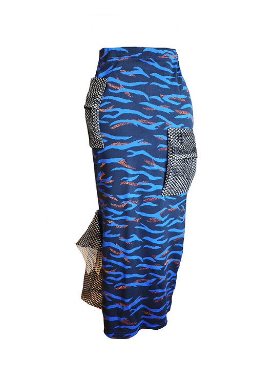 Royal Blue Long Skirt with Net Details
